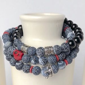 Mens Volcanic Onyx Black Silver Beaded Bracelet